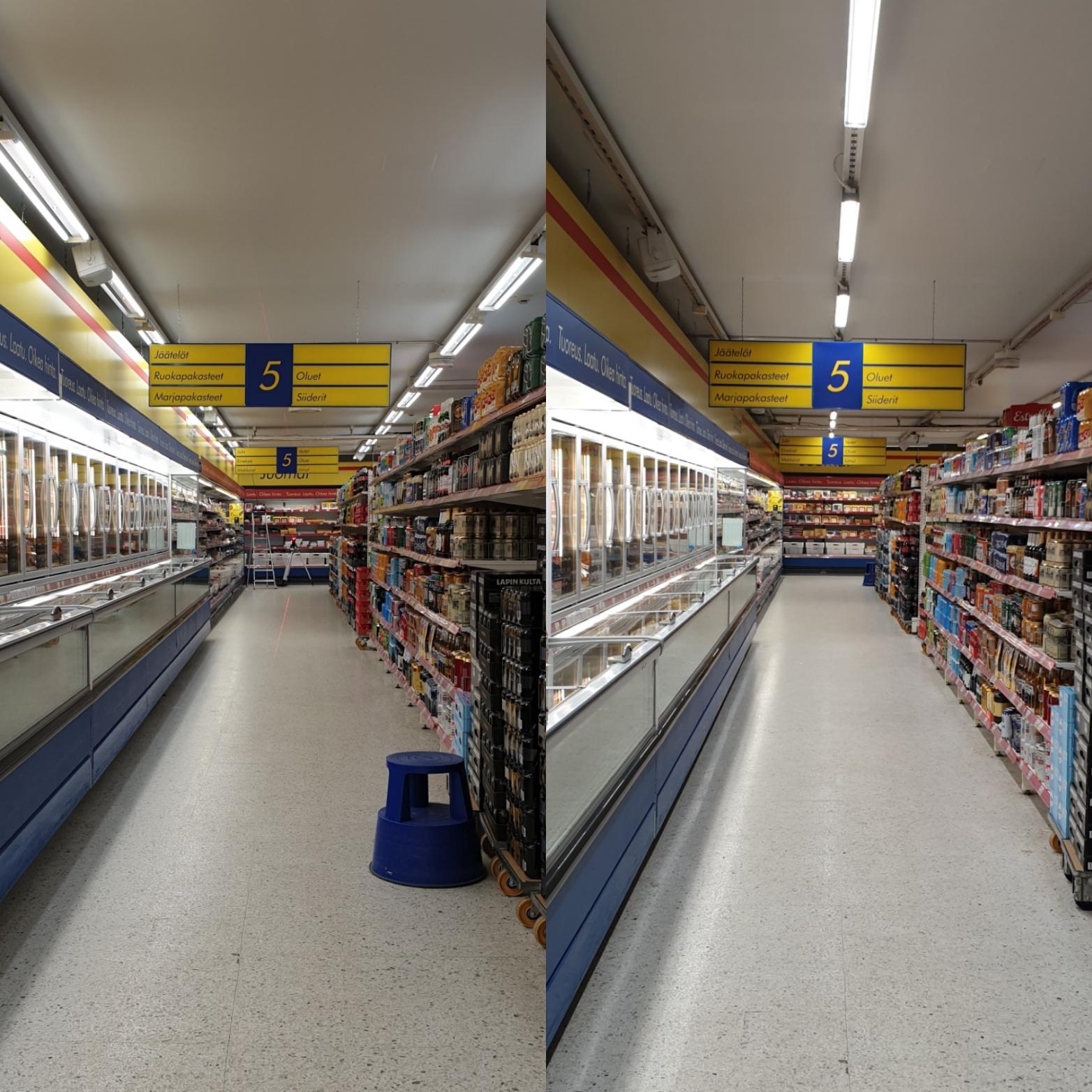 Uudet LED-valaisimet oikealla.